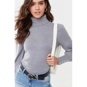 Forever 21 Turtleneck Faux Pearl Sweater